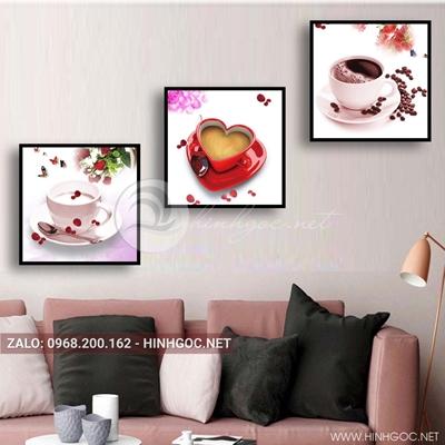 Tranh bộ 3 bức, tranh ẩm thực cốc cà phê hoa hồng love-QDS-162