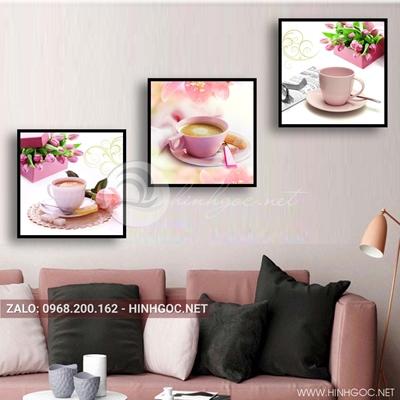 Tranh bộ 3 bức, tranh ẩm thực tách trà và hoa tulip love-QDS-163
