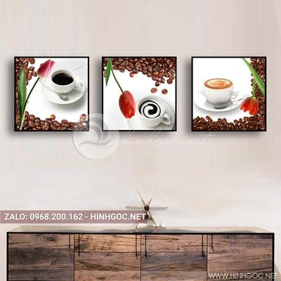 Tranh bộ 3 bức, tranh ẩm thực tách cà phê và hoa tulip love-QDS-164