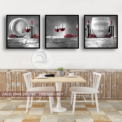 Tranh bộ 3 bức, tranh ẩm thực chai rượu vang nho-QDS-165
