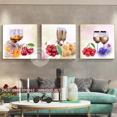 Tranh bộ 3 bức, tranh ẩm thực, chiếc ly, hoa quả đẹp-QDS-166