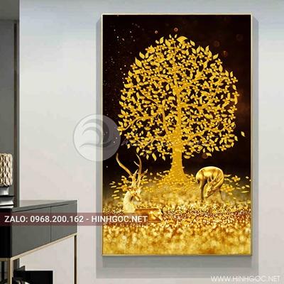 Tranh treo tường, đôi hươu vàng và cây tuần lộc trang trí đẹp-QDS-170