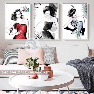 Tranh treo tường, bộ 3 bức tranh chân dùng thời trang những cô gái-QDS-223