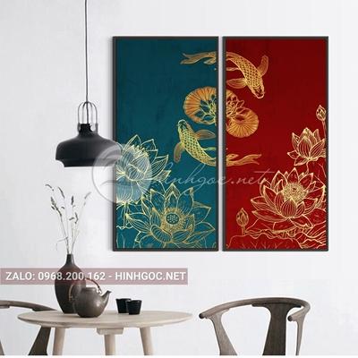 Tranh treo tường, bộ 2 bức ghép, tranh cá chép và hoa sen họa tiết-QDS-226