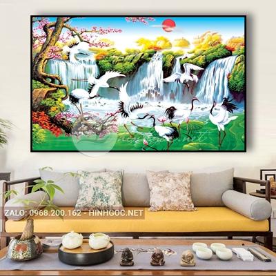 Tranh treo tường, những con hạc vui vẻ bên thác nước-QDS-227