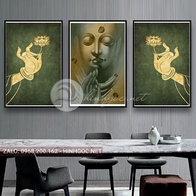 Tranh treo tường, bộ 3 bức đức phật từ bi và bàn tay cầm hoa-QDS-228