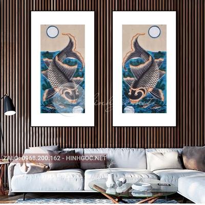 Tranh treo tường, bộ 2 bức, tranh cá chép độc đáo-QDS-231