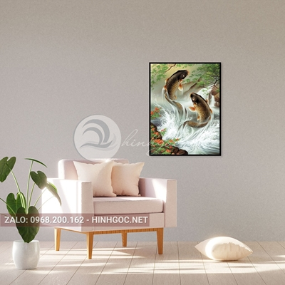 Tranh treo tường, đôi cá chép vui vẻ bơi lội -QDS-241