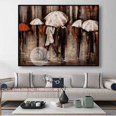 Tranh treo tường, người đội ô đi dưới mưa -QDS-246