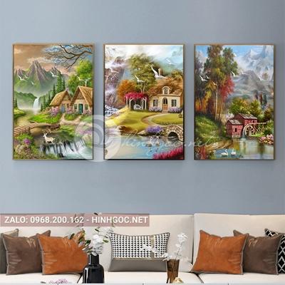 Tranh treo tường, tranh bộ 3 bức phong cảnh ngôi nhà bên sông-QDS-249