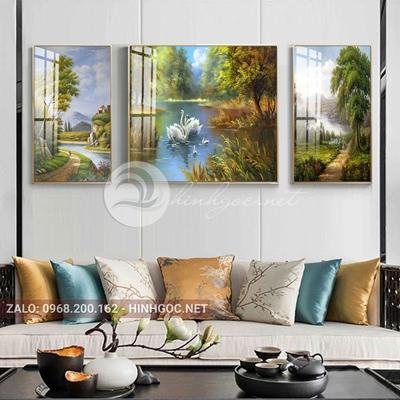 Tranh treo tường, tranh bộ 3 bức đôi thiên nga hạnh phúc đang bơi bên sông-QDS-250