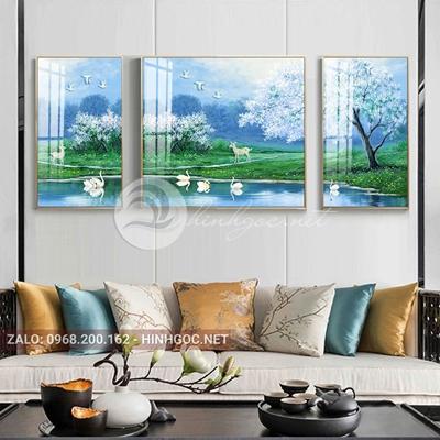 Tranh treo tường, tranh bộ 3 bức thiên nga và hươu-QDS-251