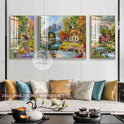 Tranh treo tường, tranh bộ 3 bức phong cảnh ngôi nhà bên sông-QDS-252