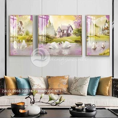 Tranh treo tường, tranh bộ 3 bức đôi thiên nga hạnh phúc về một mái ấm-QDS-253