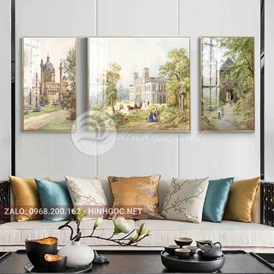 Tranh treo tường, tranh bộ 3 bức những tòa lâu đài cổ kính-QDS-254