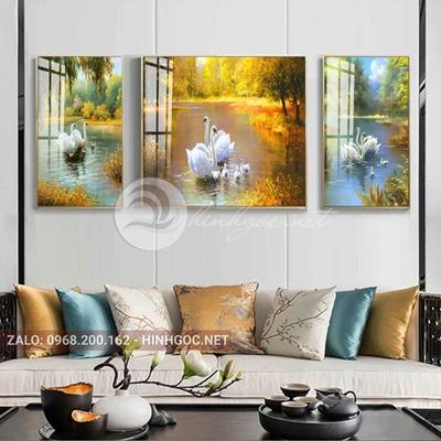 Tranh treo tường, tranh bộ 3 bức gia đình hạnh phúc của thiên nga-QDS-255