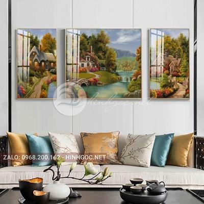 Tranh treo tường, tranh bộ 3 bức lối vào ngôi nhà-QDS-256