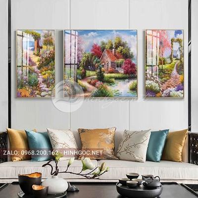 Tranh treo tường, tranh bộ 3 bức lối vào ngôi nhà hạnh phúc-QDS-257