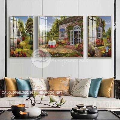Tranh treo tường, tranh bộ 3 bức lối vào ngôi nhà hạnh phúc-QDS-258