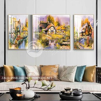 Tranh treo tường, tranh bộ 3 bức tòa lâu đài bên sông thơ mộng-QDS-259