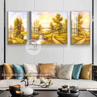 Tranh treo tường, tranh bộ 3 bức đường vào khu rừng vàng cổ tích-QDS-260