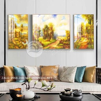 Tranh treo tường, tranh bộ 3 bức đường vào khu rừng vàng-QDS-261