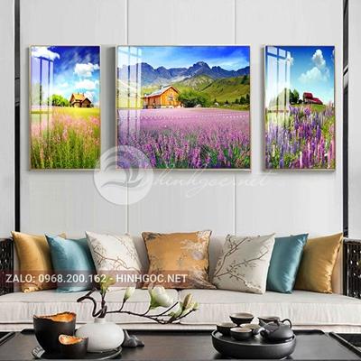 Tranh treo tường, tranh bộ 3 bức ngôi nhà trong rừng hoa tím-QDS-262