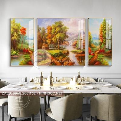 Tranh treo tường, tranh bộ 3 phong cảnh tự nhiên cây và sông nước-QDS-263