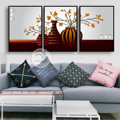 Tranh treo tường, bộ 3 bức, tranh bình hoa nở-QDS-275