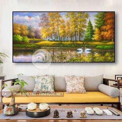 Tranh treo tường, phong cảnh hữu tình, đôi thiên nga vui vẻ-QDS-286