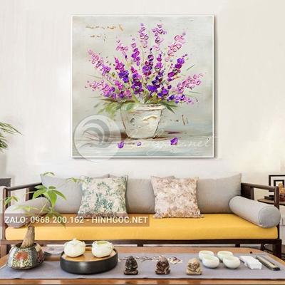 Tranh treo tường, tranh lọ hoa tím tỏa sắc hương-QDS-288