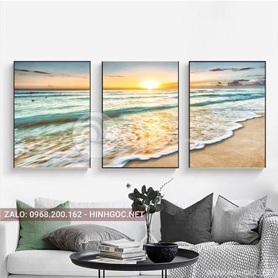 Tranh bộ 3 bức ghép, phong cảnh biển lãng mạng-QDS-29