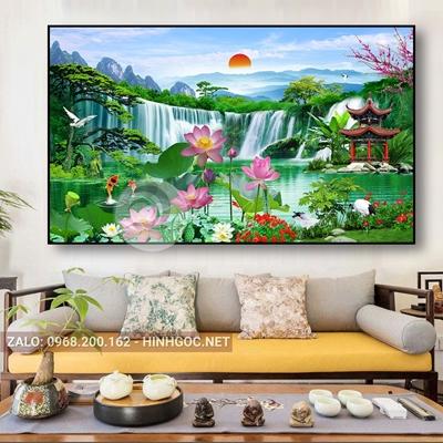 Tranh treo tường, tranh cá chép và hoa sen tuyệt đẹp-QDS-299