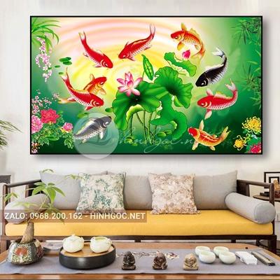 Tranh treo tường, tranh cửu ngư quần hội, cá chép và hoa sen-QDS-308