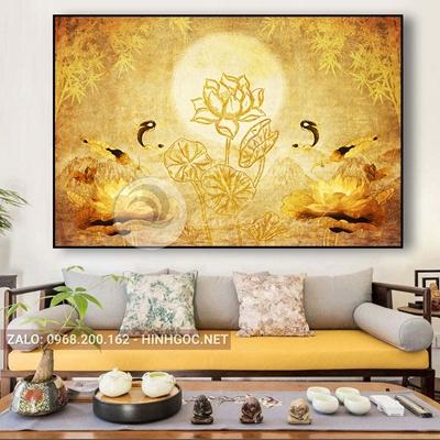 Tranh treo tường, tranh cá chép và hoa sen nghệ thuật-QDS-315