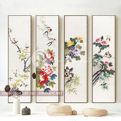Tranh treo tường, bộ 4 bức, tranh tứ quý hoa mẫu đơn và chim-QDS-323