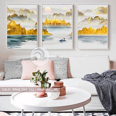 Tranh treo tường, bộ 3 bức, tranh sơn thủy hữu tình, dãy núi vàng-QDS-327