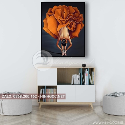 Tranh treo tường, chân dung cô gái mặc váy bông hoa tuyệt đẹp-QDS-54