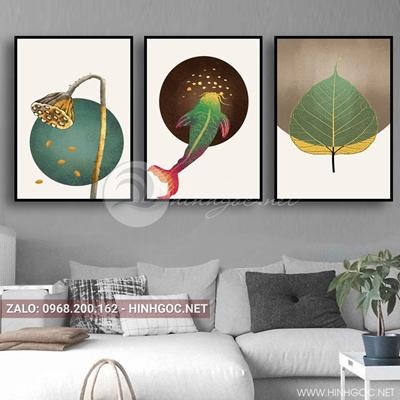 Tranh bộ 3 bức, tranh cá chép, lá, hoa sen đẹp-QDS-78