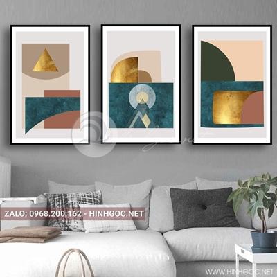 Tranh bộ 3 bức, tranh trừu tượng hình học không gian nghệ thuật-QDS-82