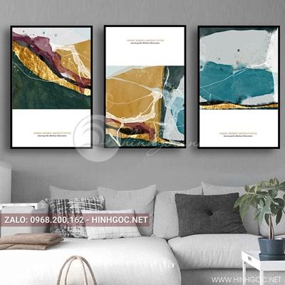 Tranh bộ 3 bức, tranh trừu tượng sắc màu nghệ thuật-QDS-85