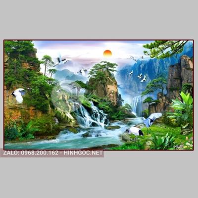 Tranh sơn thủy hữu tình, cảnh núi non và đôi chim trên sông-QPT-02