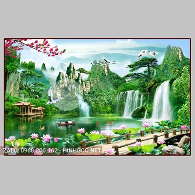 Tranh sơn thủy hữu tình, cảnh núi non và đôi chim trên sông-QPT-03
