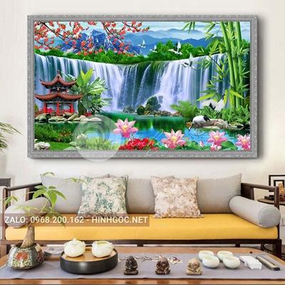Tranh sơn thủy hữu tình, chim hạc, cây trúc, hoa sen, thác nước-QPT-07