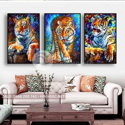 Tranh treo tường, bộ 3 bức con hổ vằn đẹp-QPT-13