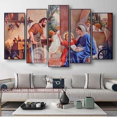 Tranh công giáo, bộ 5 bức ghép gia đình Chúa-QPT-20