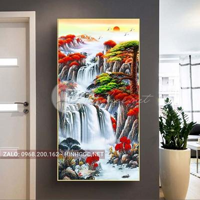 Tranh treo tường, tranh sơn thủy hữu tình, thác nước và cây-QPT-47