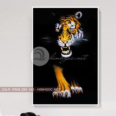 Tranh treo tường, con hổ vằn trong đêm-QPT-81