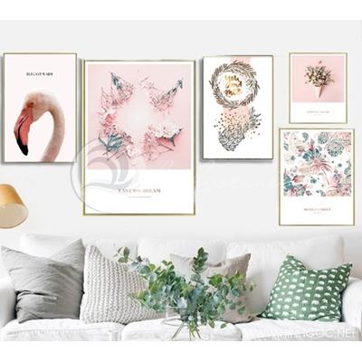 Tranh hồng hạc và vòng hoa QT-22