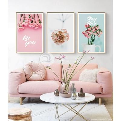 Tranh hoa cẩm chướng và hoa hồng QT-28